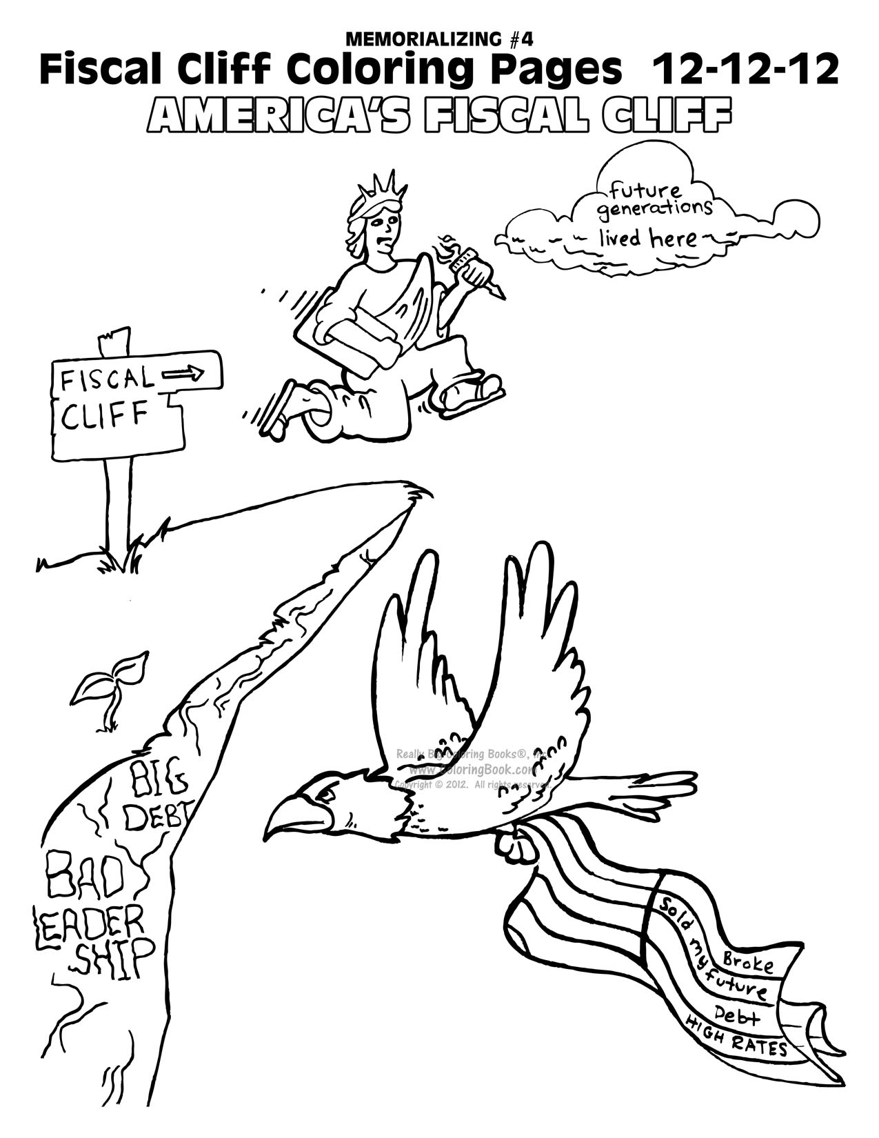 Fiscal Cliff Coloring Book and the American Leadership