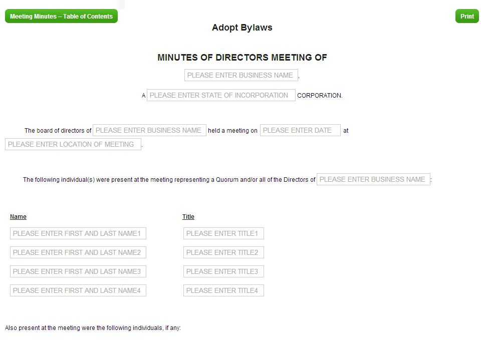 CorpNet.com Offers a Meeting Minutes Template Tool for