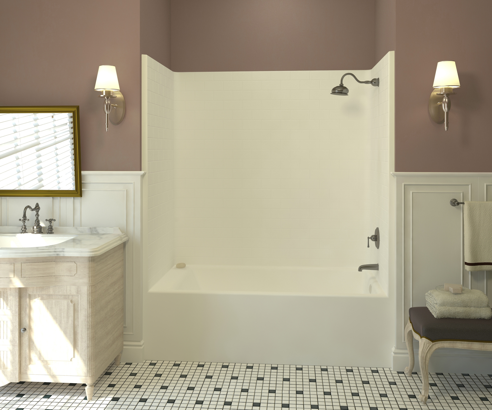 Aquatics New Subway Tile Family of TubShowers and