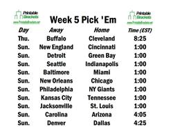 Week 5 Schedule Opens With Bills Facing Browns on
