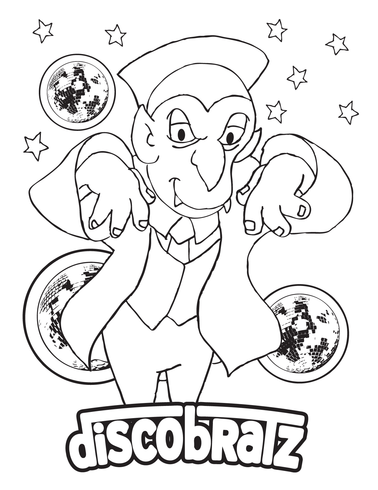 Dancing Halloween Vampire Coloring Page Available from