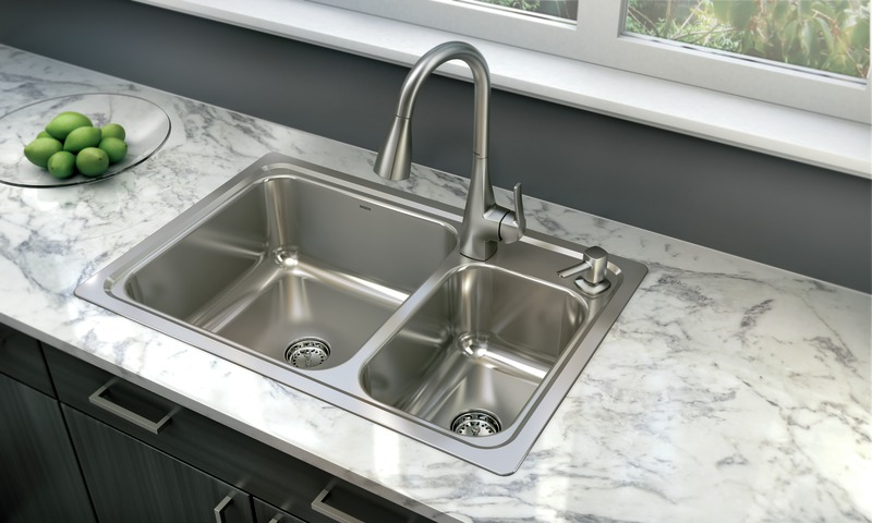 kitchen sink at lowes grohe faucets repair available lowe s moen introduces the gibson stainless steel featuring innovative easy clean drain