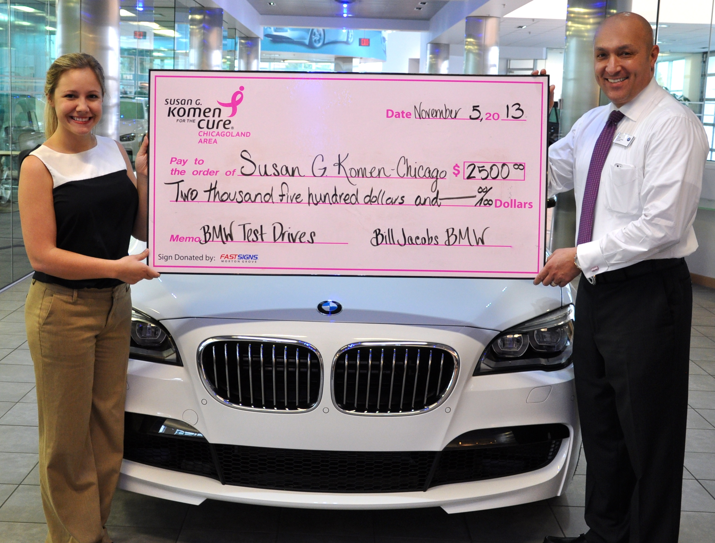 Bill Jacobs BMW Presents $2500 to Susan G Komen Chicagoland from