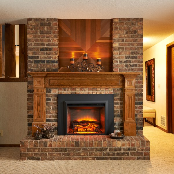 Brick Electric Fireplace Inserts with Hearth
