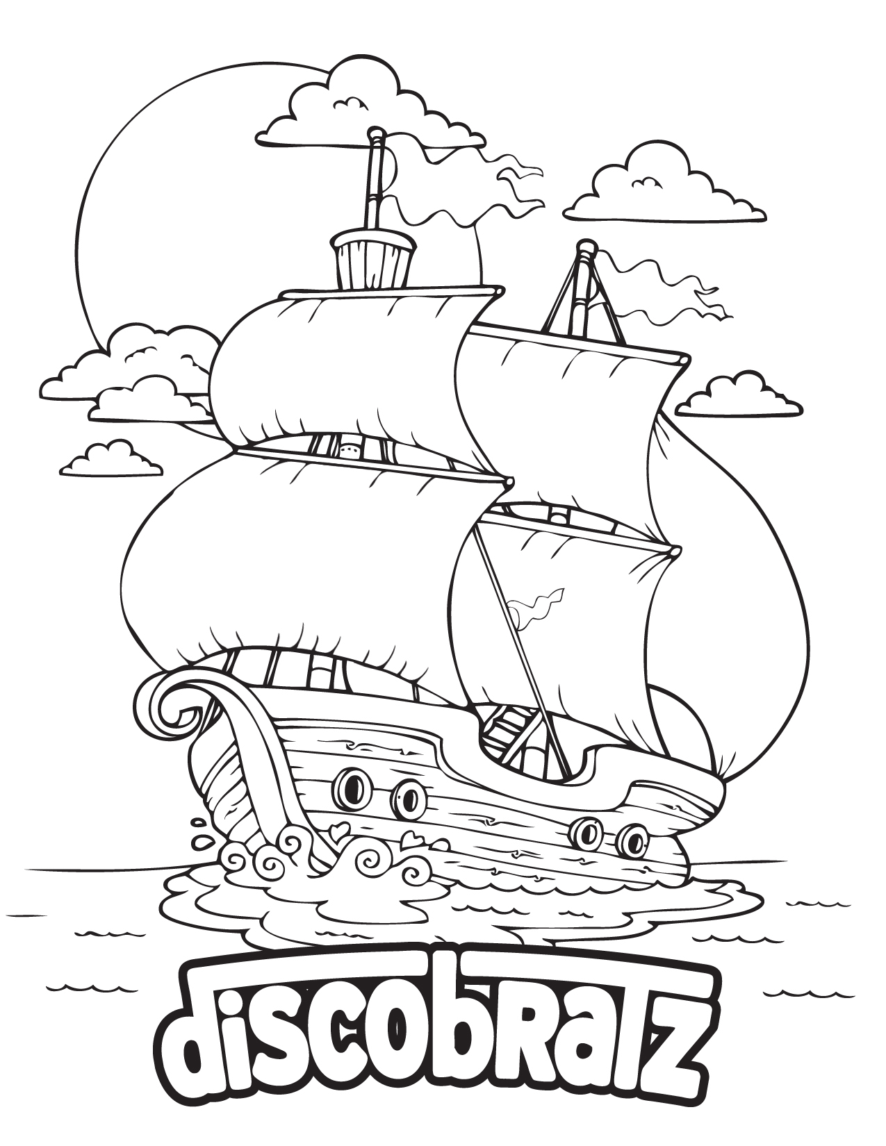 DiscoBratz Presents the Mayflower Coloring Page