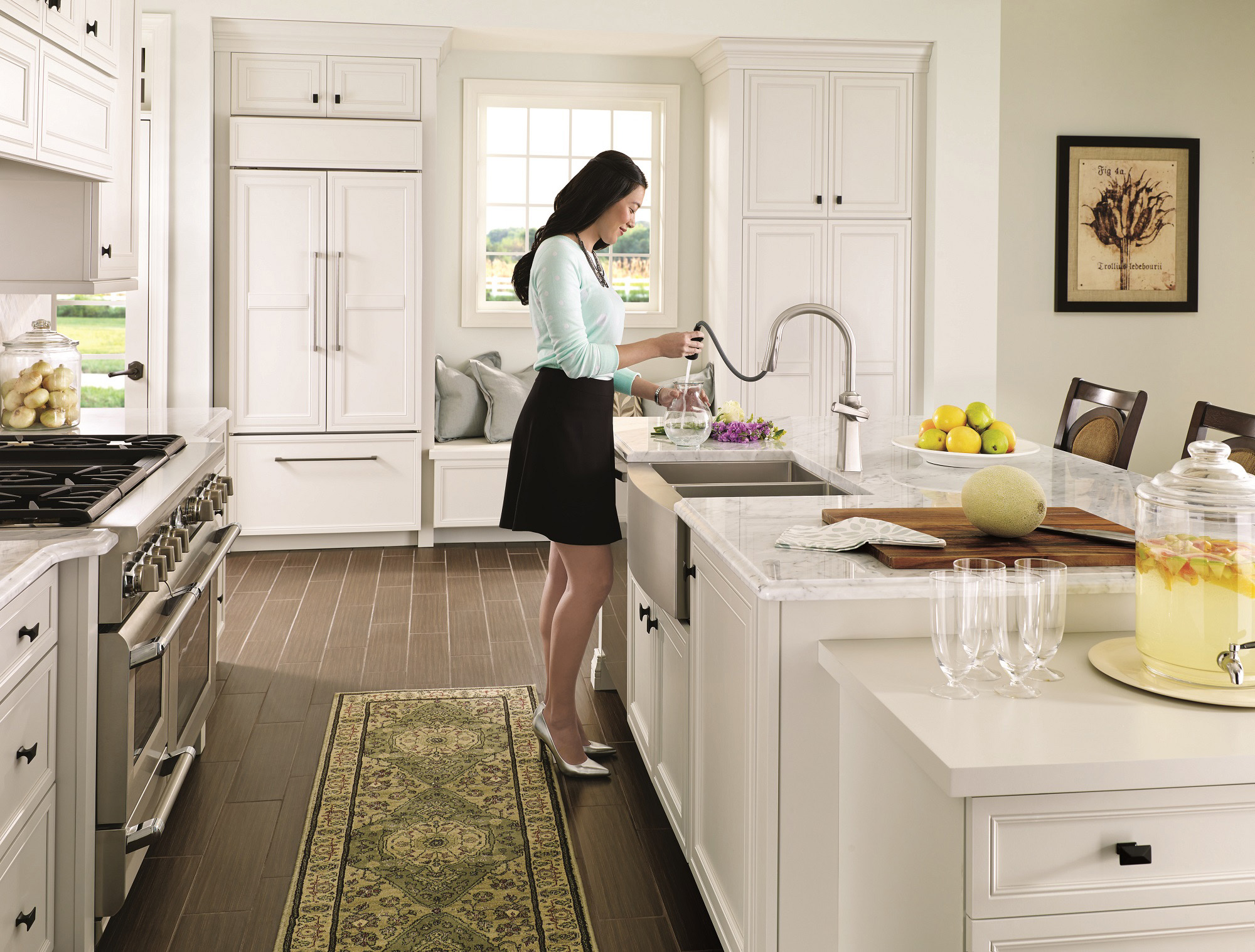 moen kitchen dark blue cabinets create a comfortable yet glamorous with the new etch pulldown faucetmoen incorporated