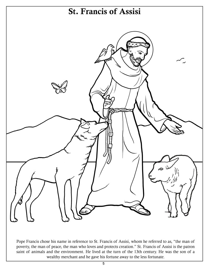 Uncategorized St Francis Coloring Page st francis of assisi cartoon simplepict com the pope coloring and activity book holy see in