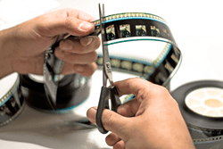 Cutting film reel to display re-editing