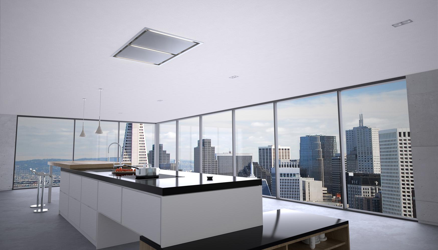 Zephyrs Lux Island Kitchen Ventilation Hood Mounts In