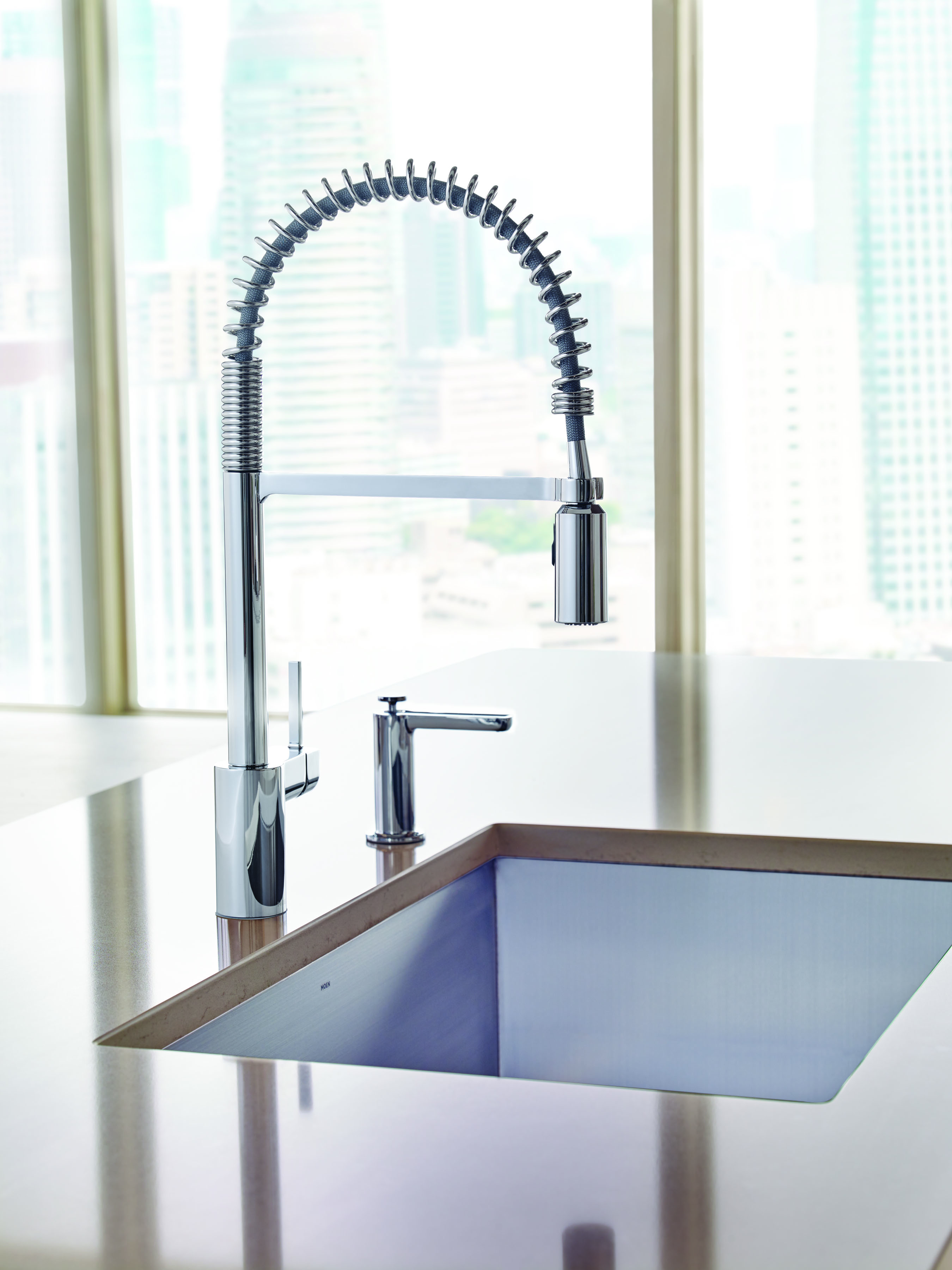 commercial style kitchen faucet toy kitchens new align® pre-rinse spring from moen ...