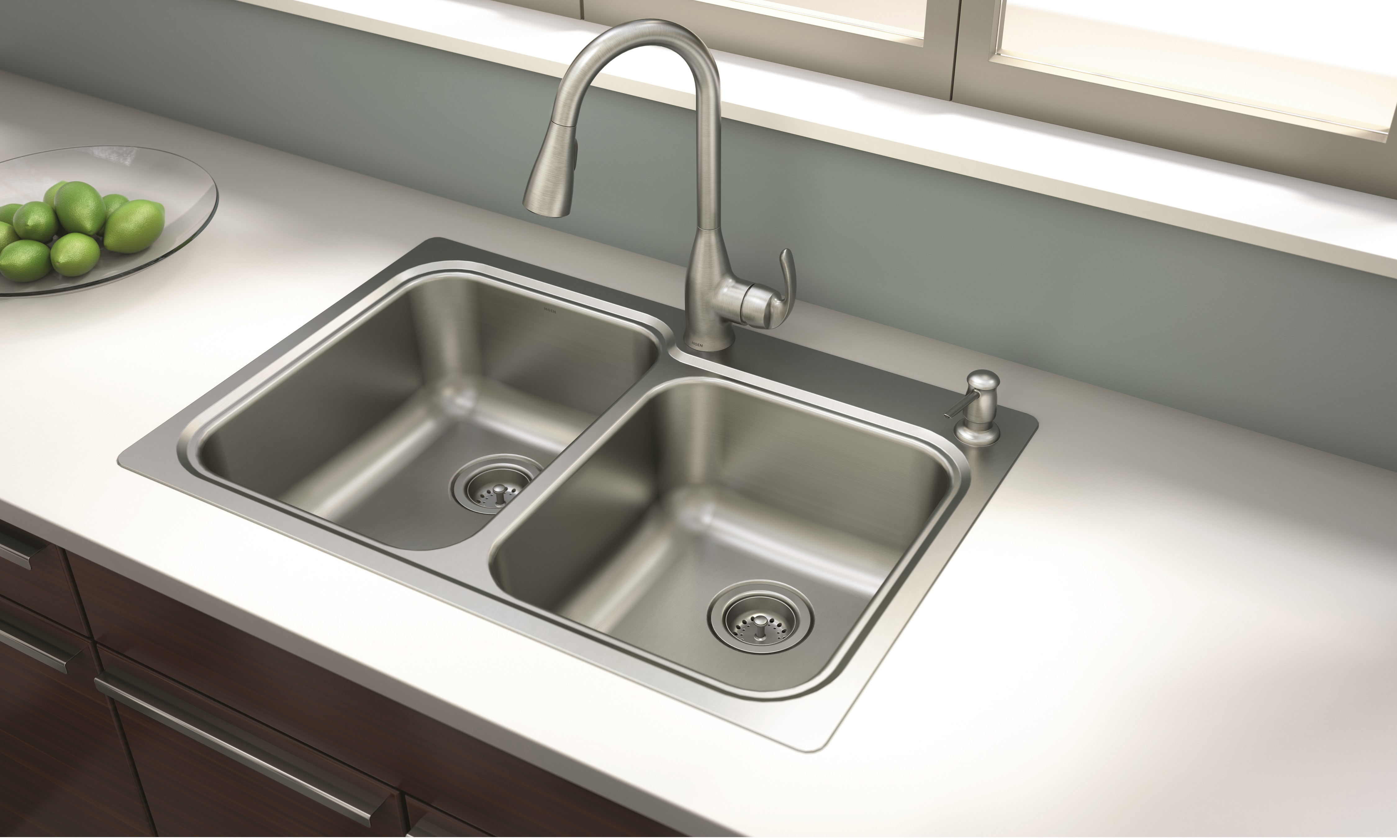 moen faucet kitchen storage island new moen® kelsa™ and sink combination offers ...