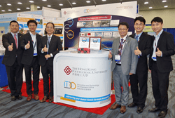 PolyU showcases its latest innovations at the TechConnect World. Dr KAN Chi-wai and Dr Terence LAU have exchanges with potential collaborators in industry and academic fields
