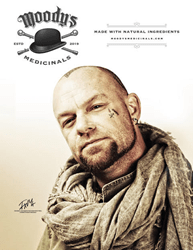 Photo advertisement of Moody's Medicinals featuring Ivan Moody