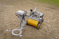 Landmine-detecting robot