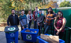 WPI Assistant Professor Berk Calli will work with students on a project to develop robotics technologies for recycling centers. From left, James Akl, Fadi  Alladkani, Arianna Kan, Kyle Heavey, Mikayla Fischler, Calli and Snehal Dikhale.