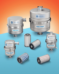 """MV PosiTrap® Vacuum Inlet Traps are made of stainless steel and come in 4"""" and 8"""" dia. sizes for pumps up to 25 and 50 CFM, respectively."""