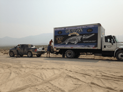 Brewery's beer delivery truck transports fossils from Nevada site.