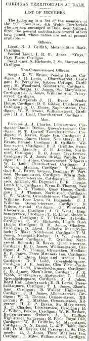 1914 WW1 week 5.2 List of territorials