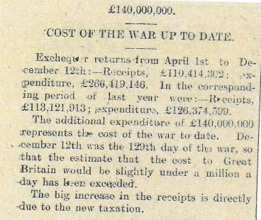 1914 WW1 week 21 Cost