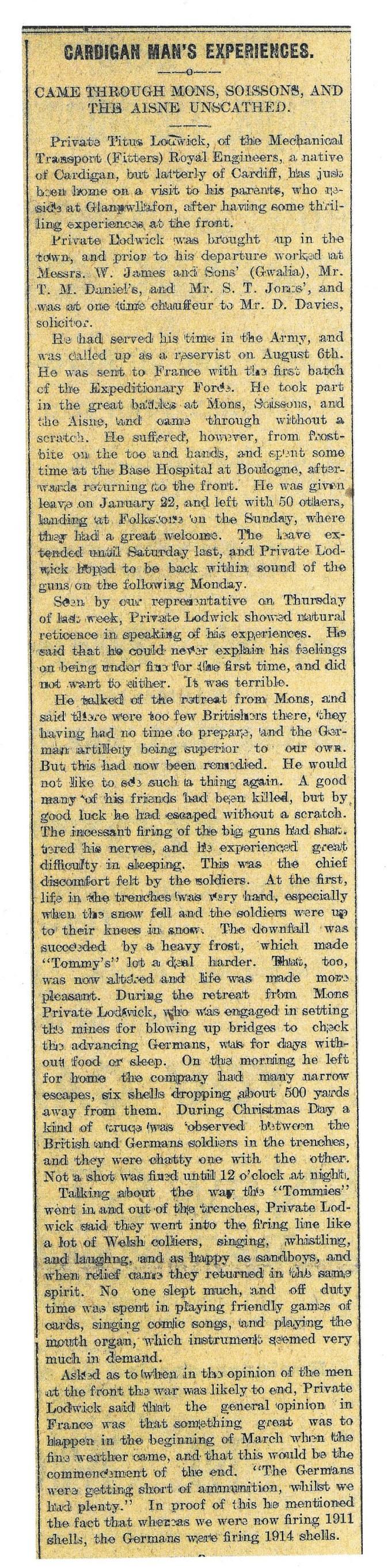 1915 WW1 week 28 Cardigan man's experiences