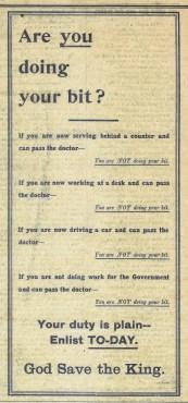 1915 WW1 week 46 CTA 09-06-15 call to enlist