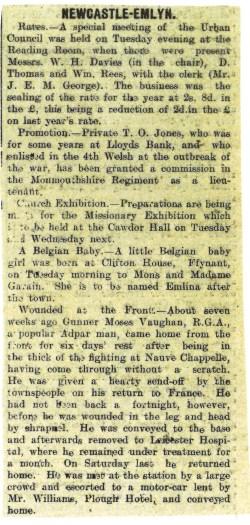 1915 WW1 week 47 CTA 16-06-15 Newcastle Emlyn