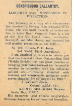1915 & 1916 weeks 74 & 75 CTA 31-12-15 Gallantry of Llechryd man