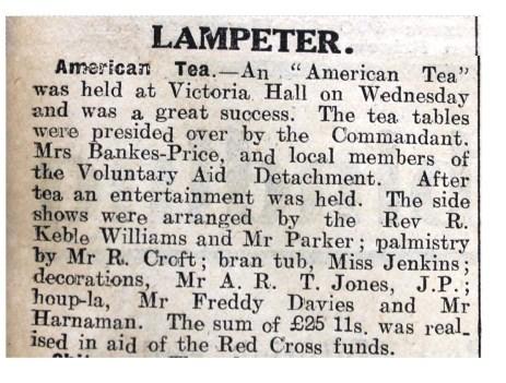 1916 week 82 CN 25-2-16 Lampeter American Tea