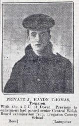 1916 week 82 CN 25-2-16 Private J. Haydn Thomas Tregaron