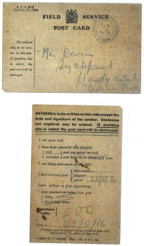 1916 week 82 Field Service Post card to Sychpant