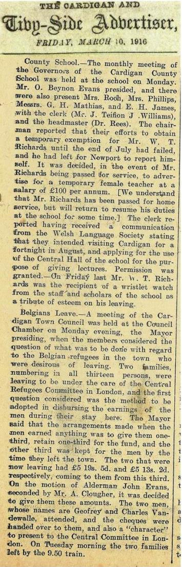 1916 week 84 CTA 10-3-16 County school and Belgians leave