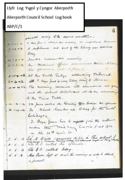 1916 week 91 Llyfr Log Aberporth