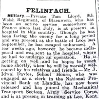 1916 WW1 week 91 CN 28-4-16 Felinfach