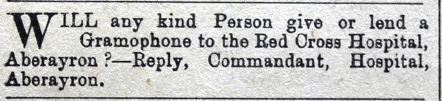1916 WW1 week 91 CTA 28-4-16 Aberaeron hospital