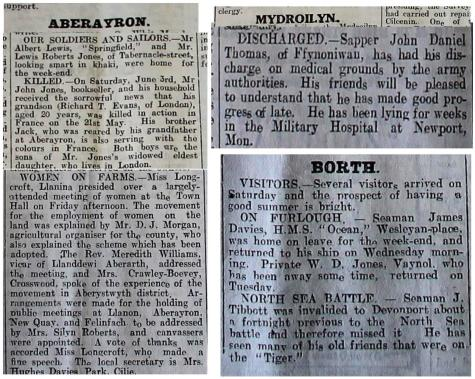 WW1 week 98 Aberayron, Mydroilyn and Borth