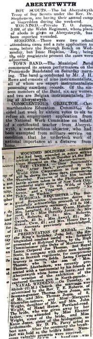 WW1 week 98 CN 16-6-16 news from Aberystwyth