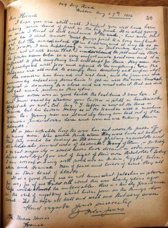 LIB.73.3.7 Letter from Rev Islan Jones (Bolton) to Horace Harris resized