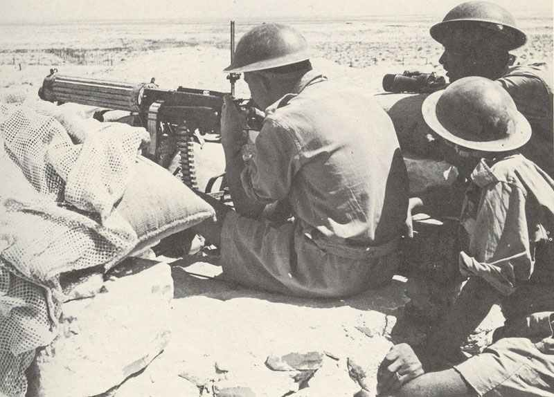Vickers heavy MG about to open fire with the 1th South African Division of the Eight Army.