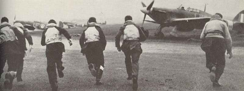 Hurricane pilots 'scramble' on Eagle Day.