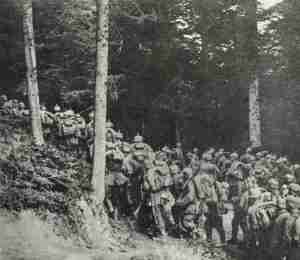 German troops on the march in a forest in East Prussia