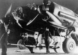 Ju 88 A-4 equipped with flare guards and an AB 1000 canister which held 610 B-1 incendiary bombs