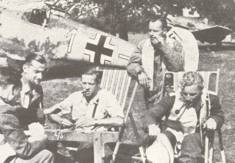 Luftwaffe fighter pilots were waiting in front of their Me 109 's