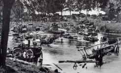 Destroyed Polish transport column in river Bzura