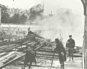 Belgian soldiers destroy a railway bridge