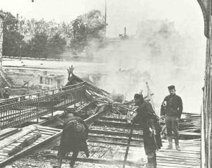 Belgian soldiers destroy a railway bridge