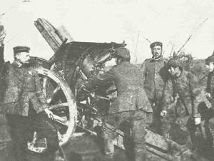 German 15-cm howitzer at Ypres