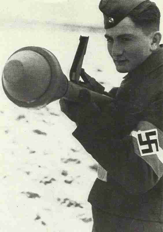 Hitler youth soldier excercising with Panzerfaust