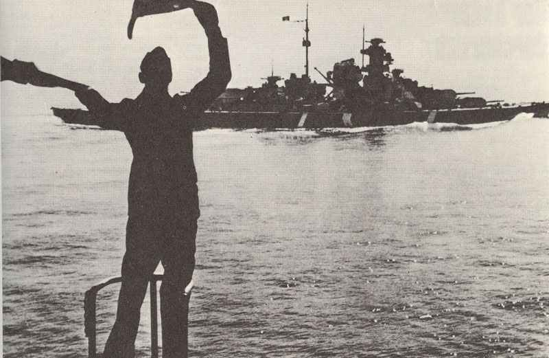 battleship Bismarck is leaving Bergen in Norway