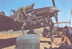 Field maintenance on a P-40 Warhawk F