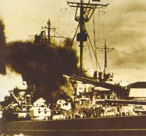 Battleship Tirpitz bombarding Spitzbergen